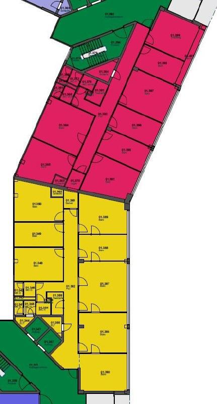 Grundriss 1 OG 14 _ 16  621 m²